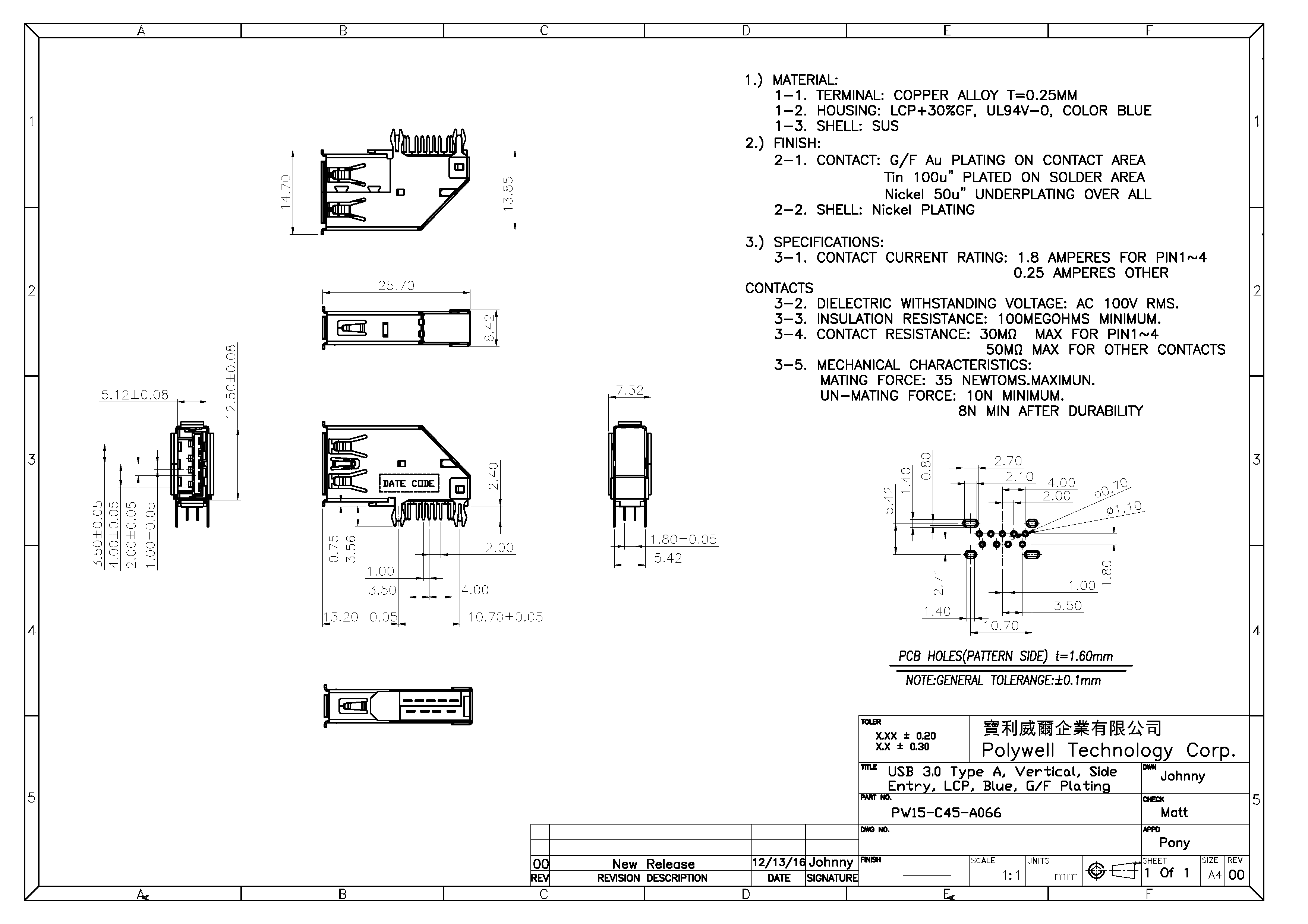 Usb Connector 30 Type A Receptacle Vertical Scsi To Wiring Diagram Side Entry